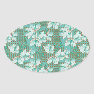 Oriental Floral Pattern Oval Stickers