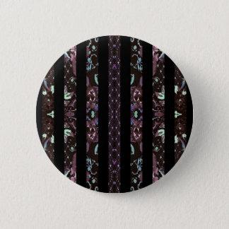 Oriental Floral Stripes Pinback Button