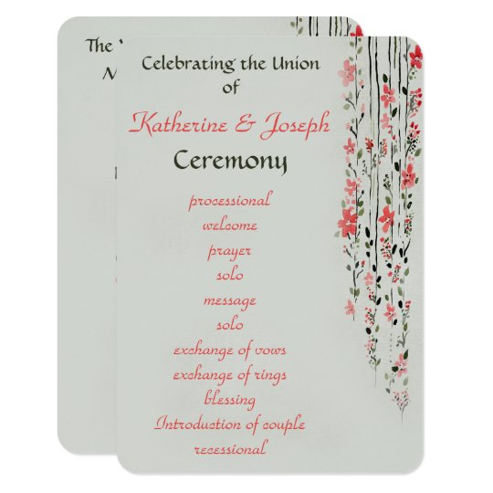 oriental floral watercolor wedding program party zazzle com