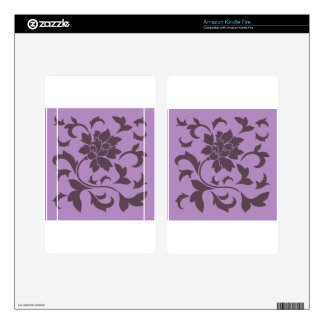 Oriental Flower - Cherry Chocolate & Lilac Decals For Kindle Fire
