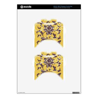 Oriental Flower - Cherry Chocolate & Mustard Xbox 360 Controller Skin