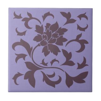 Oriental Flower - Cherry Chocolate & Violet Tulip Tile