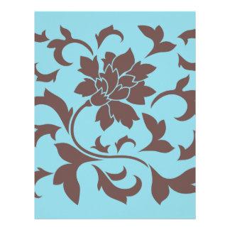 Oriental Flower - Chocolate & Pastel Blue Letterhead