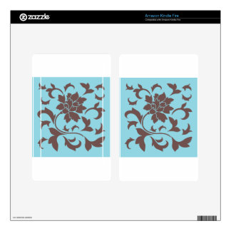 Oriental Flower - Chocolate & Pastel Blue Skin For Kindle Fire