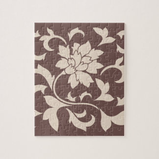 Oriental Flower - Coffee Latte Chocolate Jigsaw Puzzle
