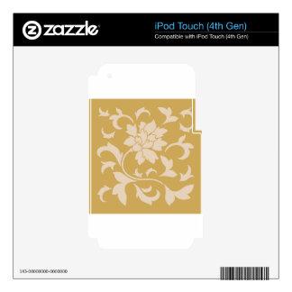 Oriental Flower - Coffee Latte & Spicy Mustard iPod Touch 4G Decal