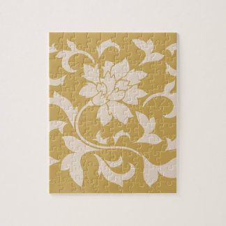 Oriental Flower - Coffee Latte & Spicy Mustard Jigsaw Puzzle