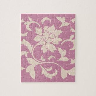 Oriental Flower - Coffee Latte & Strawberry Jigsaw Puzzle