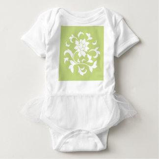 Oriental Flower - Daiquiri Green Circular Pattern Baby Bodysuit