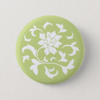 Oriental Flower - Daiquiri Green Circular Pattern Button
