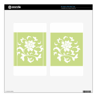 Oriental Flower - Daiquiri Green Circular Pattern Kindle Fire Skins