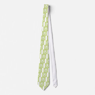 Oriental Flower - Daiquiri Green Circular Pattern Neck Tie