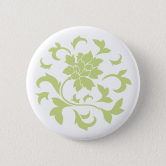 Oriental Flower - Daiquiri Green Circular Pattern Pinback Button
