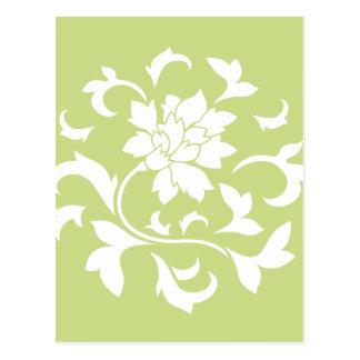 Oriental Flower - Daiquiri Green Circular Pattern Postcard