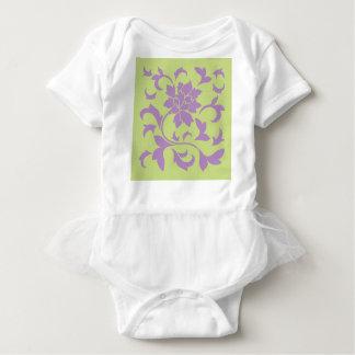 Oriental Flower - Lilac & Daiquiri Green Baby Bodysuit
