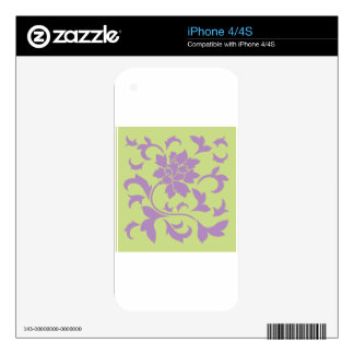 Oriental Flower - Lilac & Daiquiri Green Decal For The iPhone 4