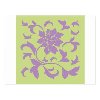 Oriental Flower - Lilac & Daiquiri Green Postcard