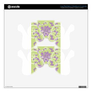 Oriental Flower - Lilac & Daiquiri Green PS3 Controller Decals