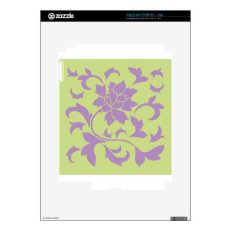 Oriental Flower - Lilac & Daiquiri Green Skins For The iPad 2