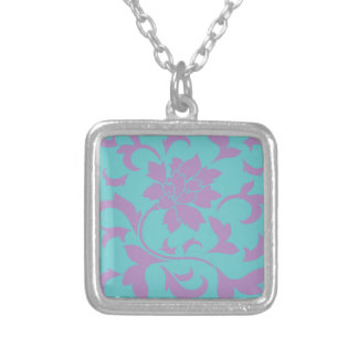 Oriental Flower - Lilac Mint Silver Plated Necklace