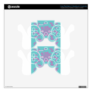 Oriental Flower - Lilac Mint Skins For PS3 Controllers