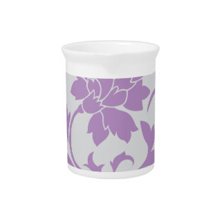Oriental Flower - Lilac Silver Beverage Pitcher