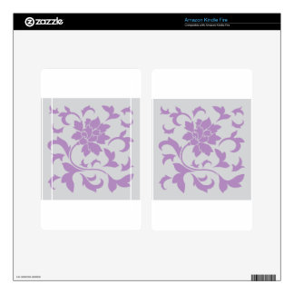 Oriental Flower - Lilac Silver Skin For Kindle Fire