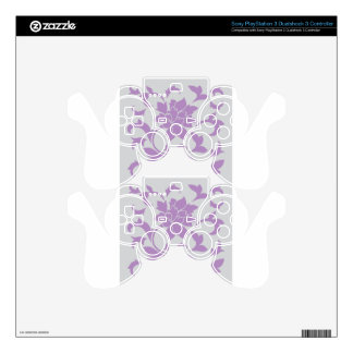 Oriental Flower - Lilac Silver Skin For PS3 Controller