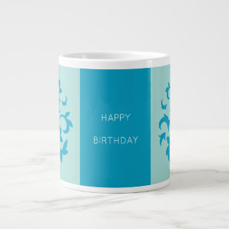 Oriental Flower-Limpet Shell-Happy Birthday-Blue Large Coffee Mug