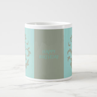 Oriental Flower-Limpet Shell-Happy Birthday-Green Large Coffee Mug