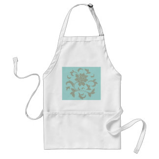 Oriental Flower - Limpet Shell - Olive green Adult Apron