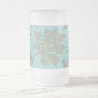 Oriental Flower - Limpet Shell - Olive green Frosted Glass Beer Mug