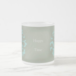 Oriental Flower - Limpet Shell - Olive green Frosted Glass Coffee Mug