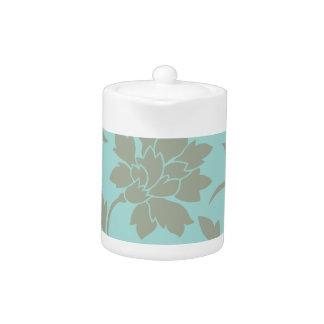 Oriental Flower-Limpet Shell-Olive green Teapot