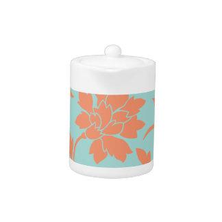 Oriental Flower - Limpet Shell - Orange Teapot