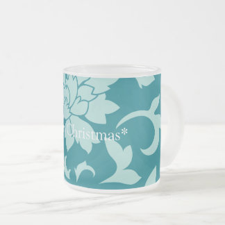 Oriental Flower - Merry Christmas - Green Frosted Glass Coffee Mug