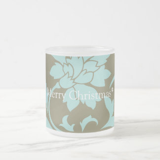 Oriental Flower - Merry Christmas - Olive green Frosted Glass Coffee Mug