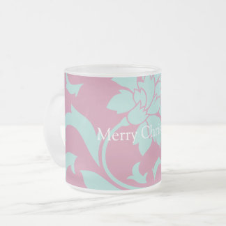 Oriental Flower - Merry Christmas - Pink Frosted Glass Coffee Mug