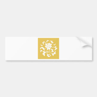 Oriental Flower - Mustard Yellow Circular Pattern Bumper Sticker