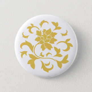 Oriental Flower - Mustard Yellow Circular Pattern Button