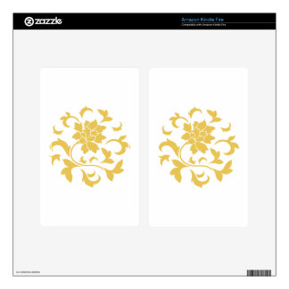 Oriental Flower - Mustard Yellow Circular Pattern Decal For Kindle Fire
