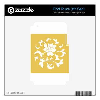Oriental Flower - Mustard Yellow Circular Pattern iPod Touch 4G Decal