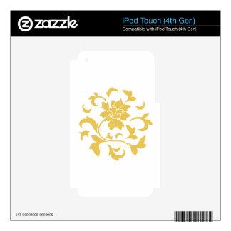 Oriental Flower - Mustard Yellow Circular Pattern iPod Touch 4G Skins