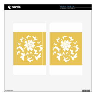 Oriental Flower - Mustard Yellow Circular Pattern Kindle Fire Decals