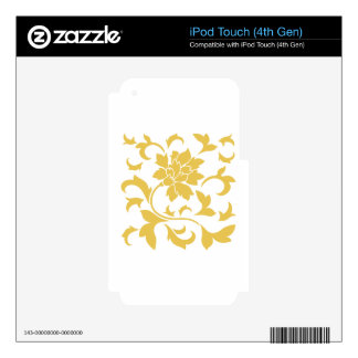 Oriental Flower - Mustard Yellow Decal For iPod Touch 4G