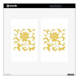 Oriental Flower - Mustard Yellow Kindle Fire Decal