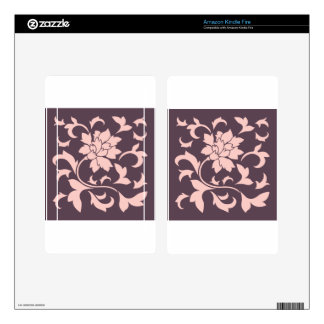 Oriental Flower - Rose Quartz & Cherry Chocolate Decals For Kindle Fire