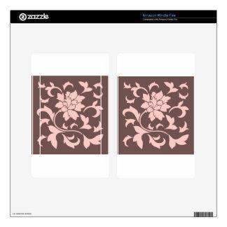 Oriental Flower - Rose Quartz & Chocolate Skins For Kindle Fire