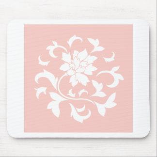Oriental Flower - Rose Quartz Circular Pattern Mouse Pad