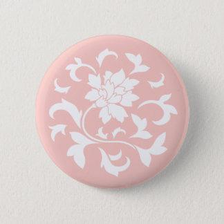 Oriental Flower - Rose Quartz Circular Pattern Pinback Button